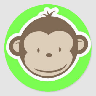 Green Monkey Round Sticker