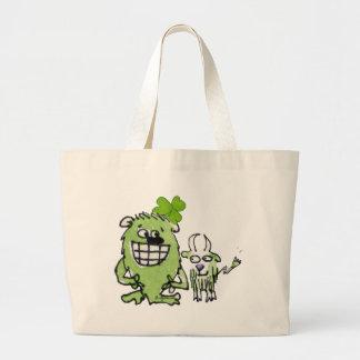 Green Monster Goat Shamrock Cartoons Tote Bags
