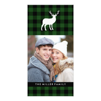 Green Plaid and White Stag   Holiday Picture Card