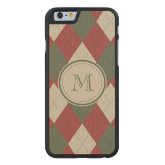 Green & Red Argyle Plaid Pattern with Monogram Carved® Maple iPhone 6 Slim Case