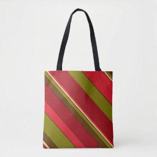 Green Red Brown Stripe Pattern Tote Bag