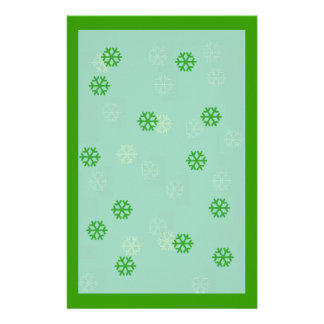 Green Snowflake Winter Stationary Stationery Design
