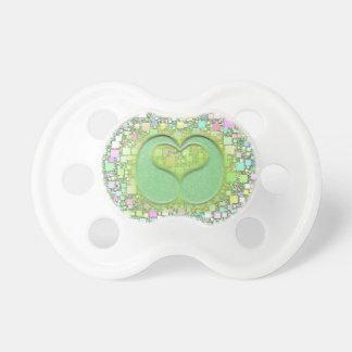 Green Teardrop Heart Over Pastel Mini Box Design Baby Pacifier