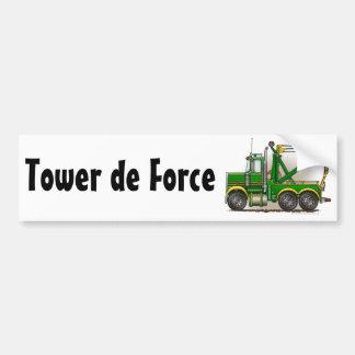"""""""Green Tow Truck Wrecker, Tower de Force Bumper St Bumper Sticker"""