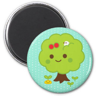 Green Tree Sprouts 6 Cm Round Magnet