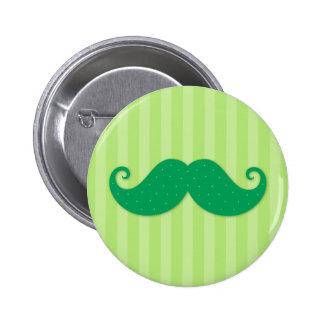 Green trendy hipster mustache 6 cm round badge