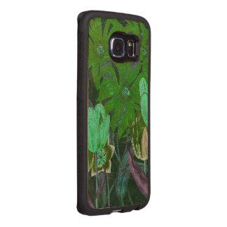 Green Turquoise Vintage Botanical Tulips Wood Phone Case