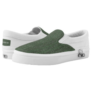 Green Tweed Image Zipz Slip On Shoes Printed Shoes