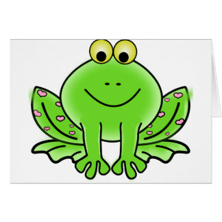 Green_Valentine_Frog_with_pink_hearts.png Greeting Card