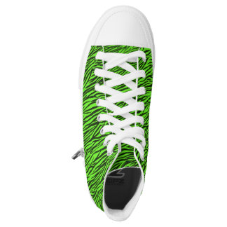 Green Zebra Stripes High Top Shoes Printed Shoes