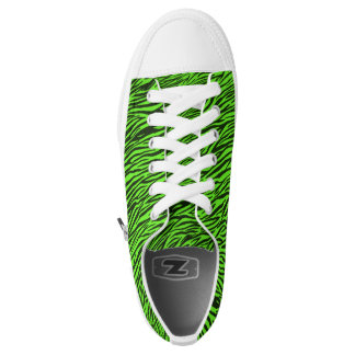 Green Zebra Stripes Low Top Shoes Printed Shoes