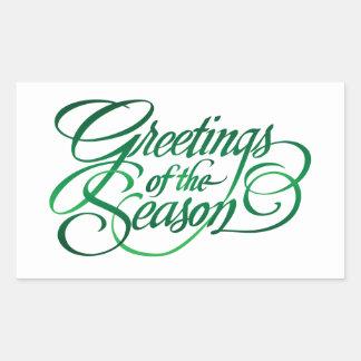 Greetings for the Season - Green Rectangular Sticker