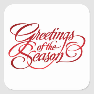 Greetings for the Season - Red Square Sticker