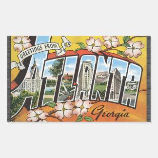 Greetings From Atlanta Georgia, Vintage Rectangular Sticker