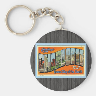 Greetings From Charlotte N.C. , Vintage Basic Round Button Key Ring