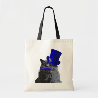 Grey Cat With Blue Top Hat and Blue Moustache Budget Tote Bag