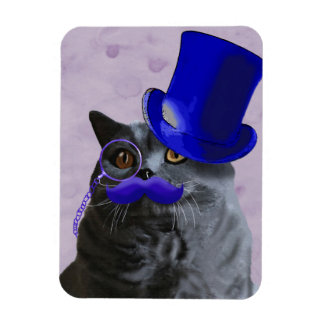 Grey Cat With Blue Top Hat and Moustache Rectangular Photo Magnet