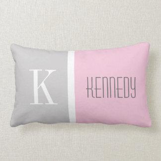 Grey Pastel Pink Color Block Monogram Name Cushion