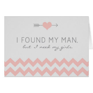 Grey & Pink Chevron Maid of Honor Request Card