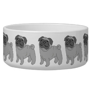 Grey Pug Dog Design Dog Food Bowls