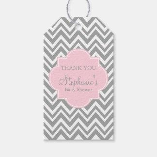 Grey, White and Pastel Pink Chevron Baby Shower