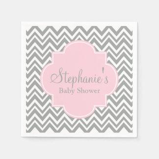 Grey, White and Pastel Pink Chevron Baby Shower Disposable Serviette