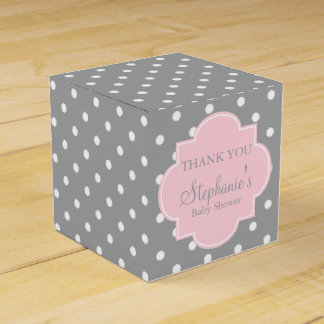 Grey, White and Pastel Pink Polka Dot Baby Shower Wedding Favour Box