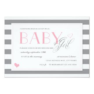 Grey & White Stripe Baby Shower Light Pink Accents 13 Cm X 18 Cm Invitation Card