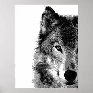 Grey Wolf Eye Artwork Poster Print