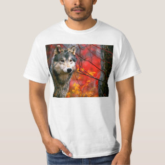 Grey Wolf in Beautiful Red and Yellow Foliage T Shirts