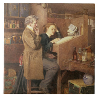Grocer and wife, 1868 large square tile