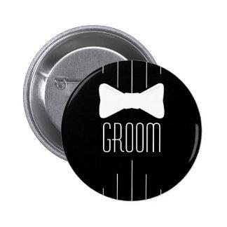 Groom White Bowtie 6 Cm Round Badge