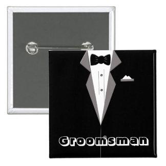 Groomsman Tuxedo Art Button