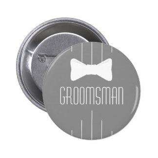 Groomsman White Bowtie 6 Cm Round Badge