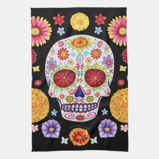 Groovy Day of the Dead Sugar Skull Kitchen Towel