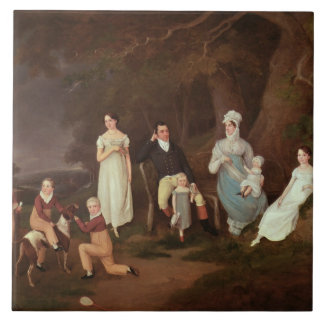 Group portrait of a Squire, his Wife and Children Large Square Tile