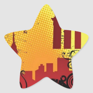 Grunge city star sticker