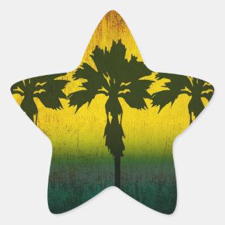 Grunge Rainbow Palm trees Star Sticker