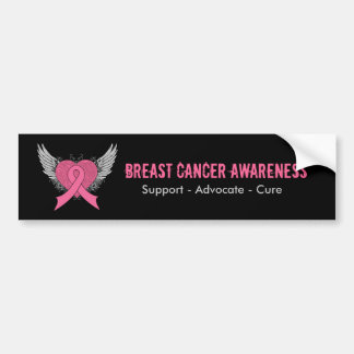 Grunge Winged Heart - Breast Cancer Bumper Sticker