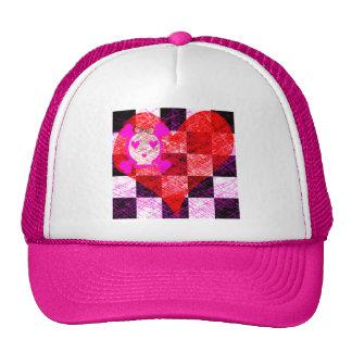 GRUNGY GIRLY SKULL HEART CHECKERS CAP