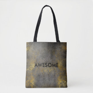 Grungy Golden Gray Cement Wall Paining Sucess Tote Bag