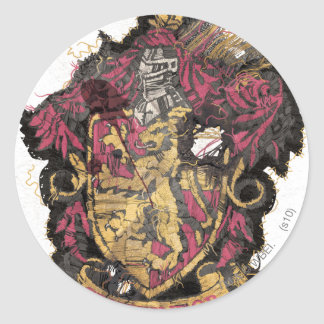 Gryffindor Crest - Destroyed Round Sticker