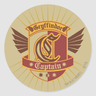 Gryffindor Quidditch Captain Emblem Round Sticker
