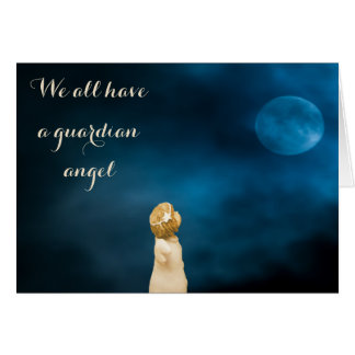 Guardian angel girls watching a full moon quote note card