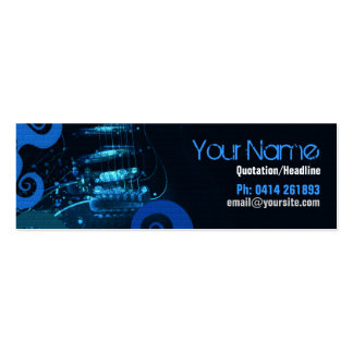 GUITAR Blue Grunge profile card Pack Of Skinny Business Cards