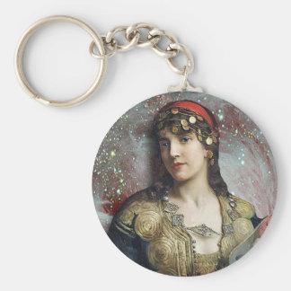 Gypsy Princess, altered art Basic Round Button Key Ring