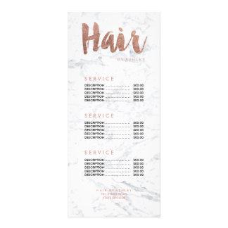 Hair modern gold typography marble price list 10 cm x 23 cm rack card
