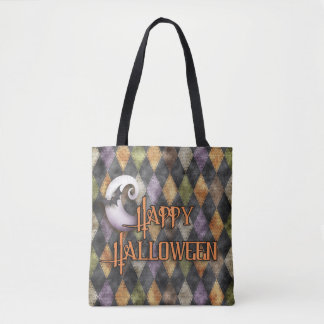 Halloween - Argyle Pattern with Word Art Tote Bag
