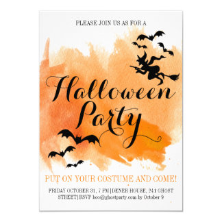 Halloween bats and witch modern watercolor 13 cm x 18 cm invitation card