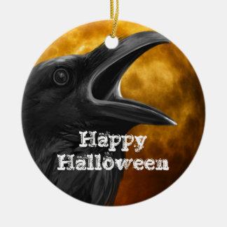 Halloween Black Crow Round Ceramic Decoration